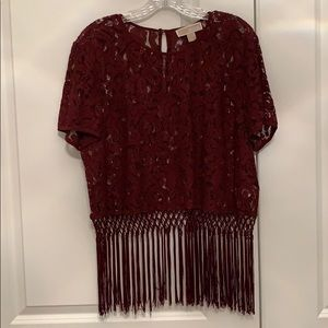 Michael Kors cropped lace and fringe top